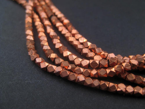 Tiny Diamond Cut Faceted Copper Beads (2mm)