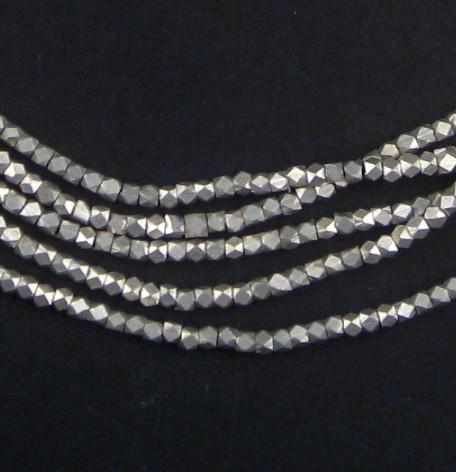 Tiny Diamond Cut Faceted Silver Beads (2mm) - The Bead Chest