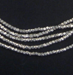 Tiny Diamond Cut Faceted Silver Beads (2mm)
