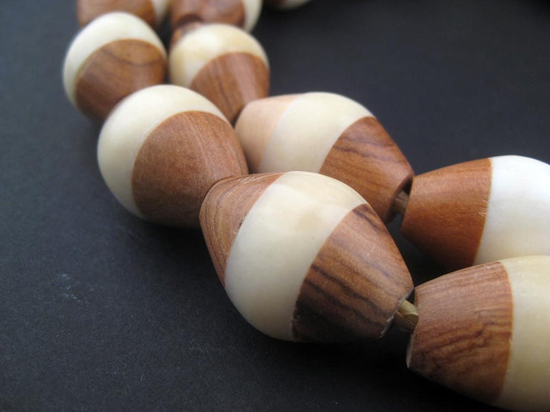 Inlaid Ebony and Bone Tanzanian Bicone Beads - The Bead Chest