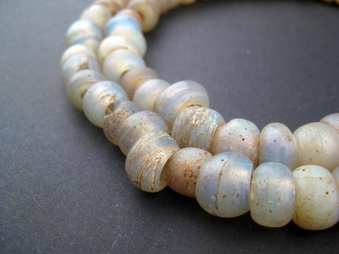 Image of AWAITING REVIEW: Antique Dutch Ethiopian Moon Beads (Full Strand) - The Bead Chest