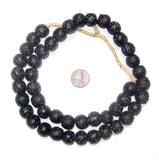 Midnight Swirl Black Krobo Powder Glass Beads