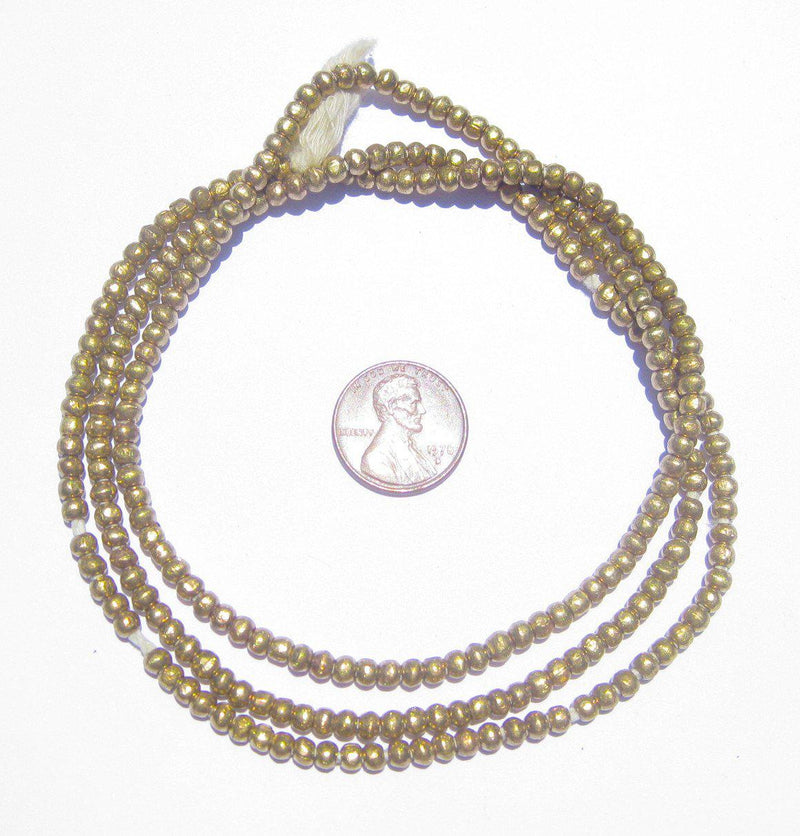 Round Brass Ethiopian Beads (3mm) - The Bead Chest