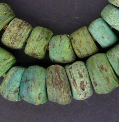 Antique Green Hebron Kano Beads - The Bead Chest