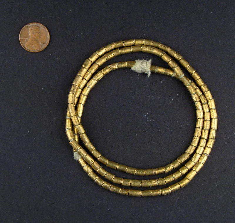 Brass Tube Ethiopian Beads (6x4mm) - The Bead Chest