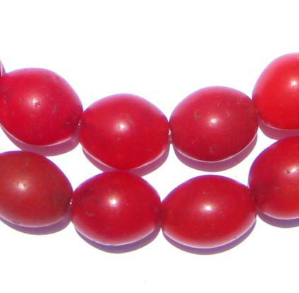 Red Ethiopian Tomato Beads (16 x 13mm) - The Bead Chest