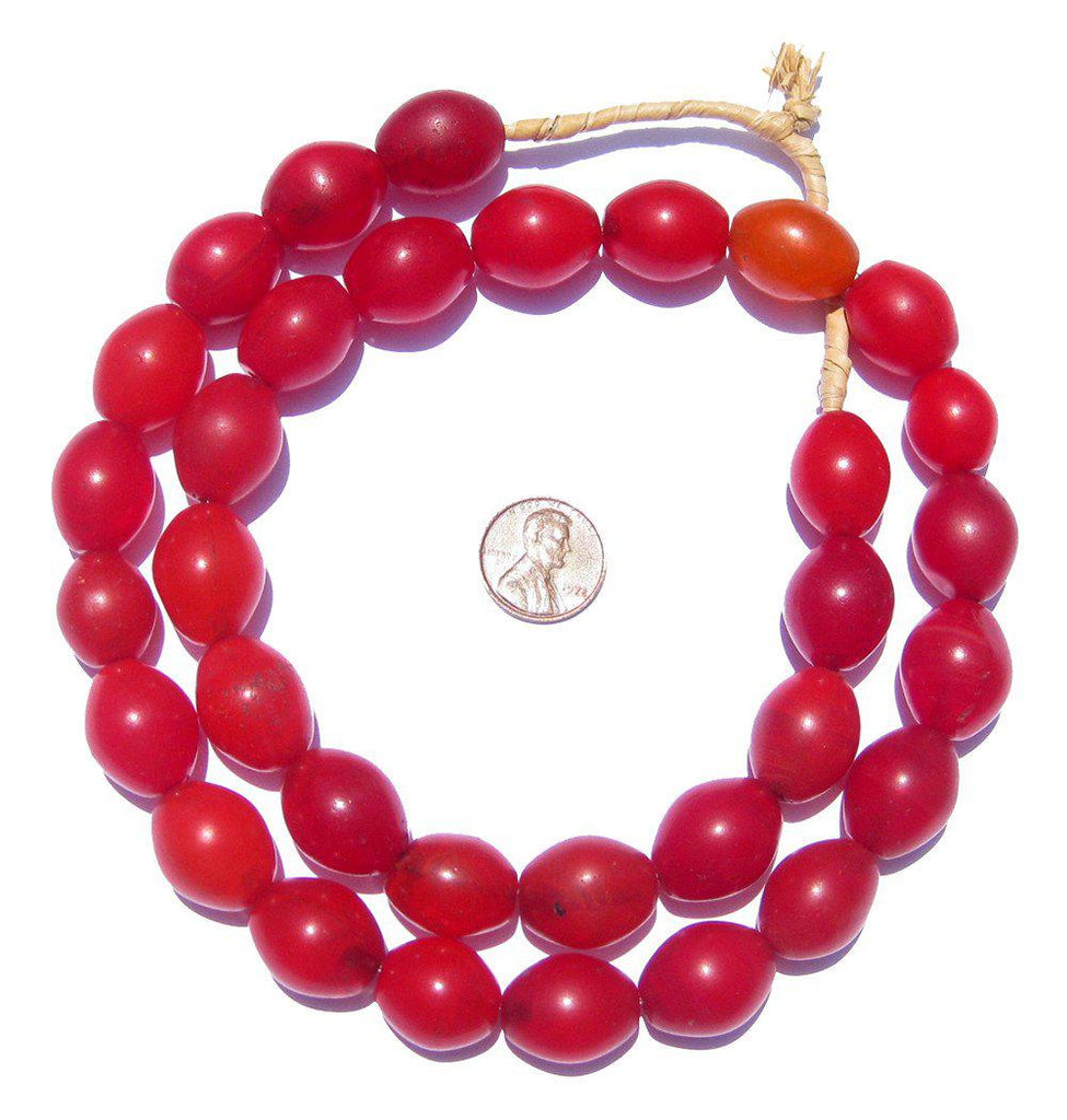 Red Ethiopian Tomato Beads (20x15mm) - The Bead Chest
