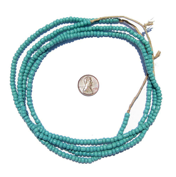 Aqua Ghana Glass Beads (2 Strands) - The Bead Chest