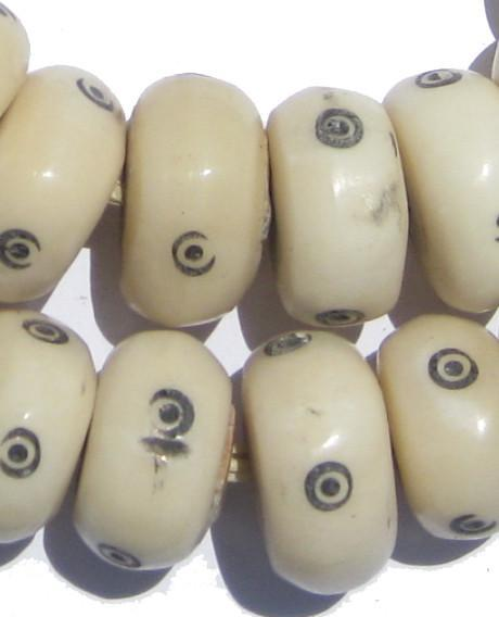 Eye Design White Bone Beads (Large) - The Bead Chest