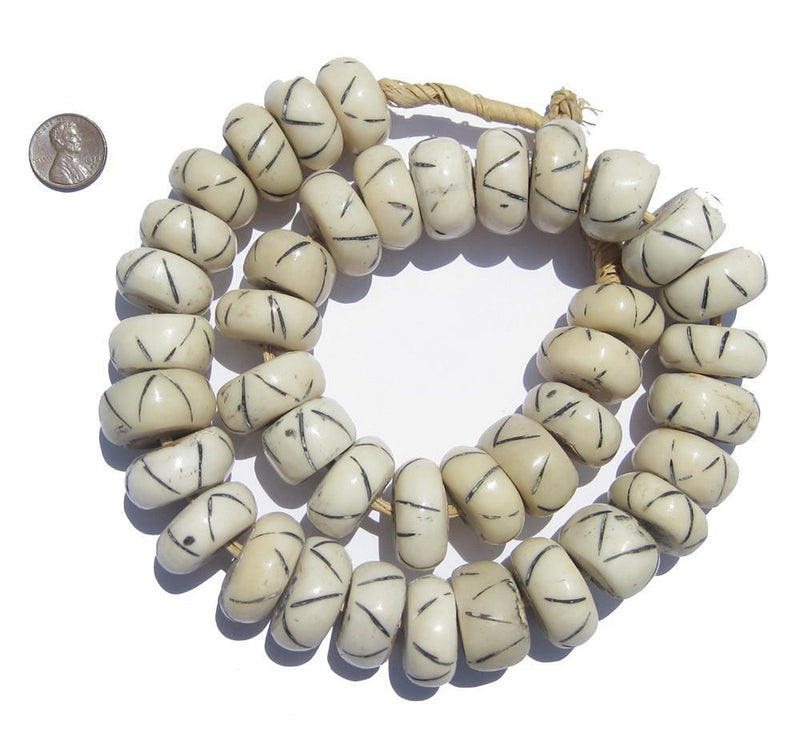 Criss Cross Design White Bone Beads (Large) - The Bead Chest