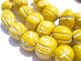 Sunflower Yellow Patterned Terracotta Beads