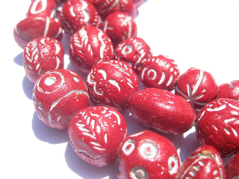 Crimson Red Patterned Terracotta Beads - The Bead Chest