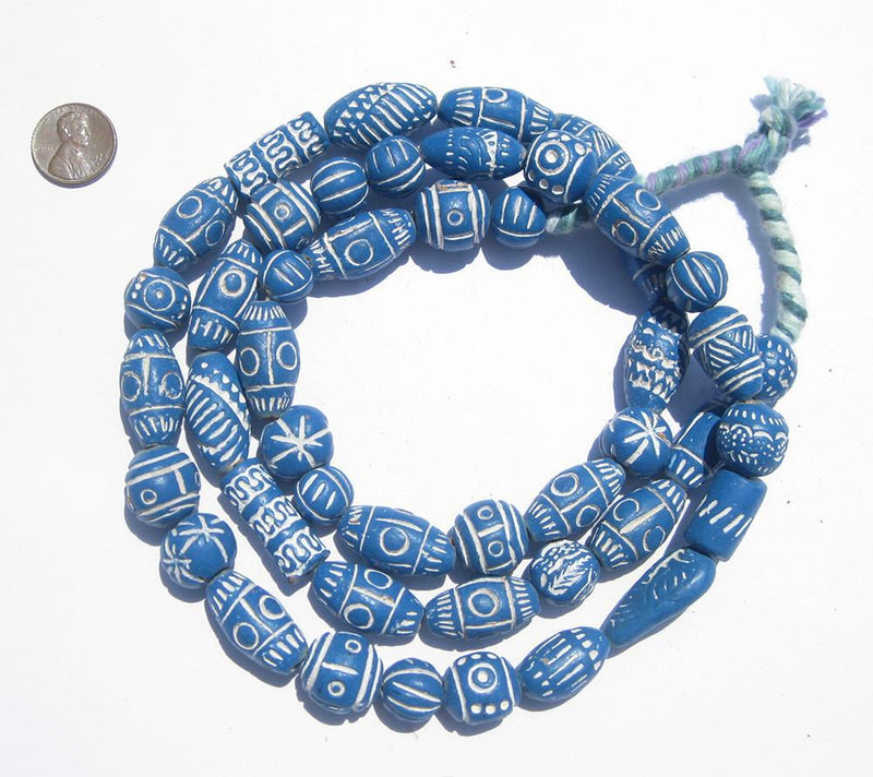 Sky Blue Patterned Terracotta Beads - The Bead Chest