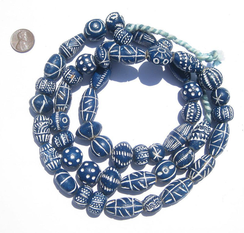 Cobalt Blue Patterned Terracotta Beads - The Bead Chest