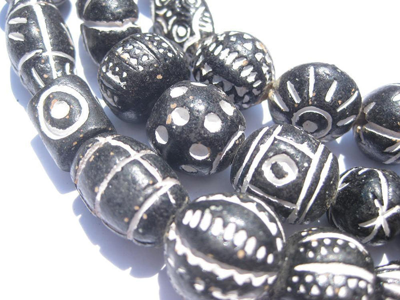 Traditional Black Patterned Terracotta Beads - The Bead Chest