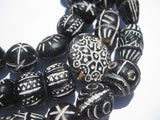 Traditional Black Patterned Terracotta Beads