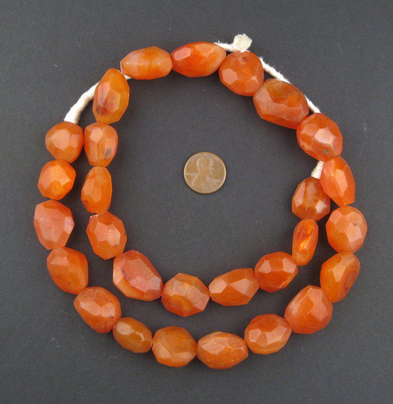 Faceted Authentic African Carnelian Beads - The Bead Chest