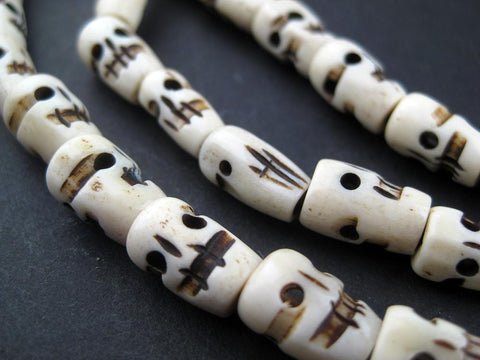 Carved Bone Skull Beads (Long Strand) - The Bead Chest