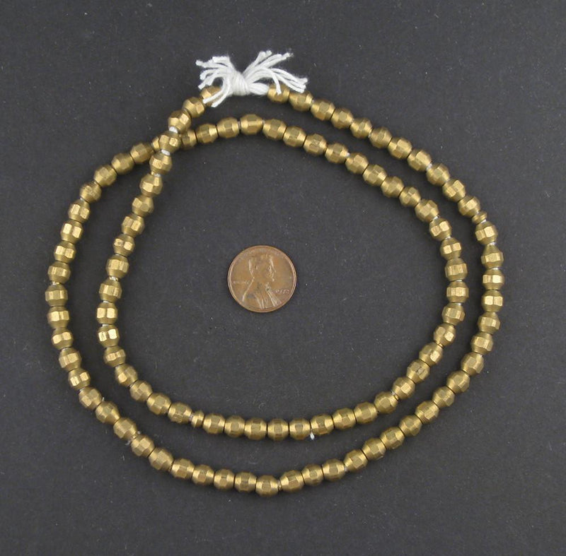 Faceted Brass Bicone Beads (6mm) - The Bead Chest