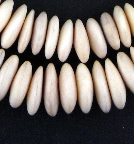 Graduated White Camel Bone Disk Beads - The Bead Chest