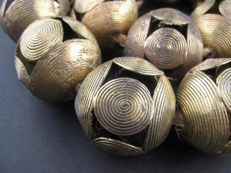Extra Large Ghana Brass Filigree Globe Beads (40mm) - The Bead Chest