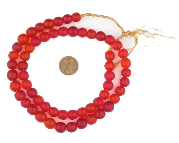 Old Bohemian Glass Round Red Beads