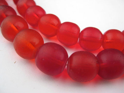 Old Bohemian Glass Round Red Beads - The Bead Chest