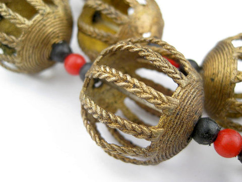 Round Braided Baule Brass Beads (27mm) - The Bead Chest