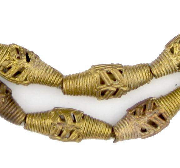 Flat Bicone Brass Leaf Filigree Beads (25x11mm) - The Bead Chest