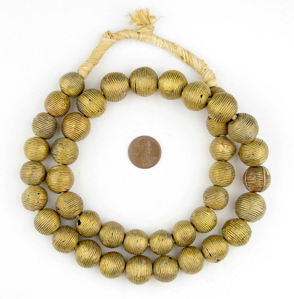 Wound Round Ghana Brass Globe Beads (14mm) - The Bead Chest