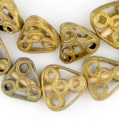 Brass Filigree Four Circle Triangle Beads - The Bead Chest