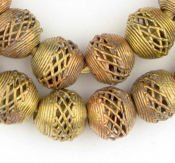 Weaved Brass Filigree Globe Beads (18mm) - The Bead Chest