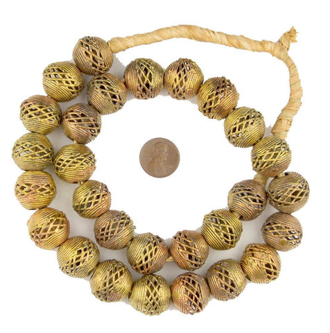 Image of Weaved Brass Filigree Globe Beads (18mm) - The Bead Chest