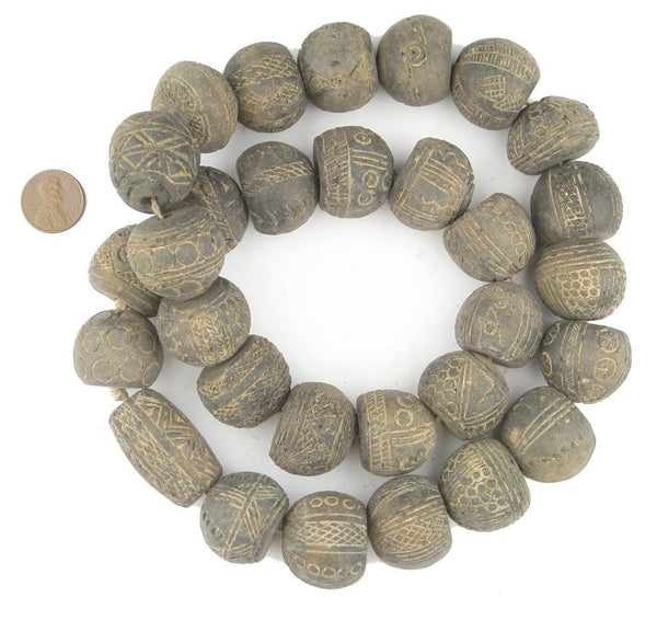 Old Mali Clay Spindle Gumdrop Beads (Unique)