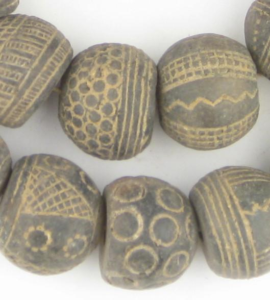 Old Mali Clay Spindle Gumdrop Beads (Unique) - The Bead Chest