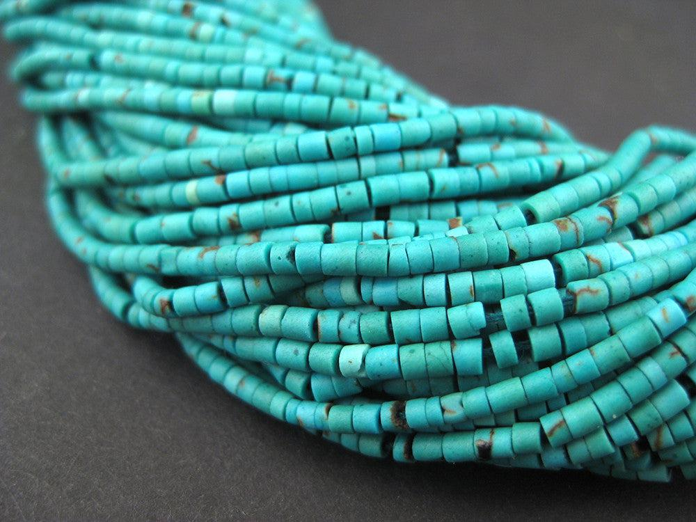 Dark Turquoise Tiny Heishi Beads - The Bead Chest