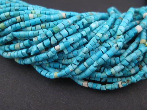 Image of Blue White Turquoise Tiny Heishi Beads - The Bead Chest