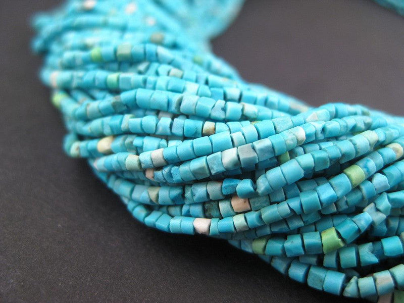 Blue White Turquoise Tiny Heishi Beads - The Bead Chest