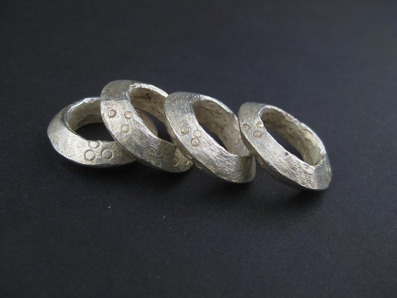 Silver Ethiopian Wollo Rings (22mm) (Set of 4) - The Bead Chest
