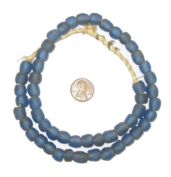 Faded Blue Recycled Glass Beads (9mm)