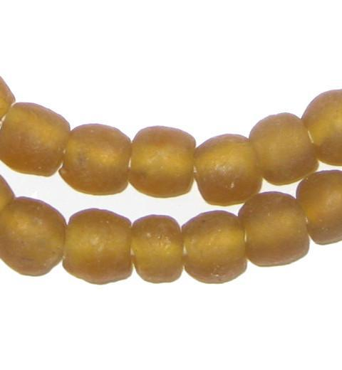 Light Amber Brown Recycled Glass Beads (9mm) - The Bead Chest