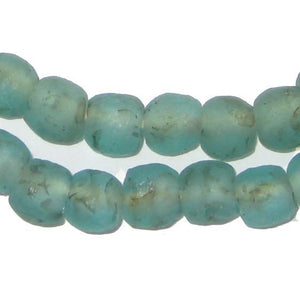 Aqua Black Swirl Recycled Glass Beads (9mm) - The Bead Chest