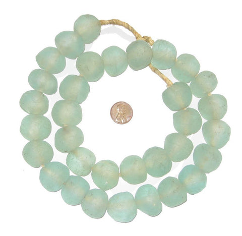 Image of Jumbo Clear Aqua Recycled Glass Beads (24mm) - The Bead Chest