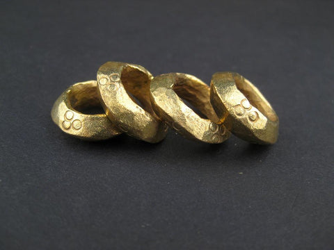 Brass Ethiopian Wollo Rings (18mm) (Set of 4) - The Bead Chest