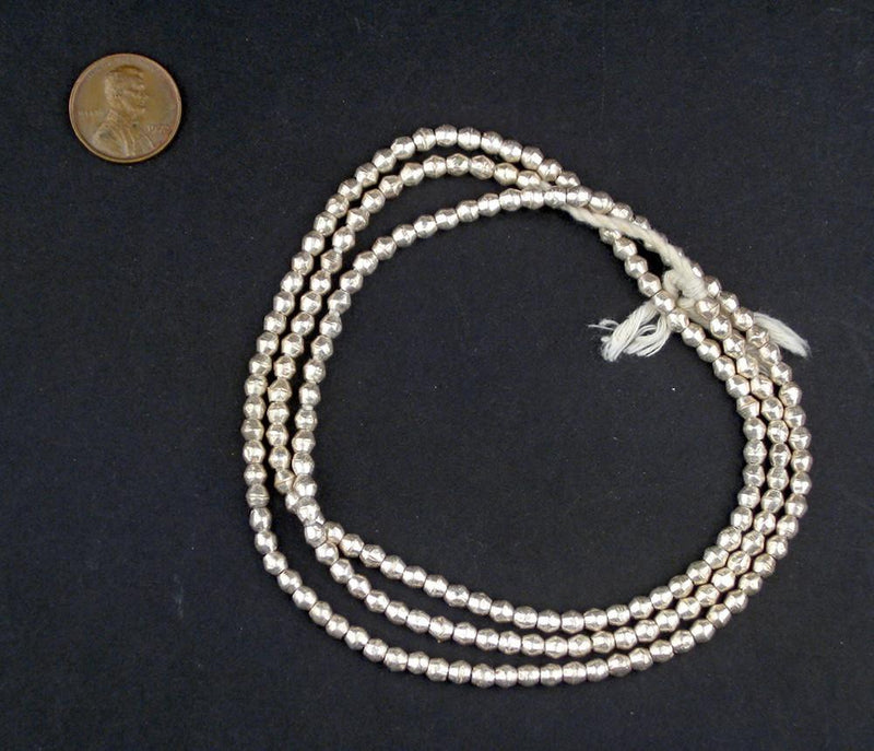Ethiopian White Metal Mini-Bicone Beads (5x5mm) - The Bead Chest