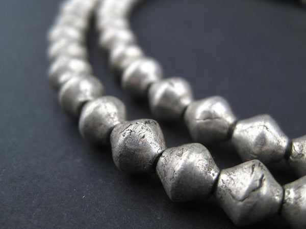 Vintage Ethiopian White Metal Bicone Beads (7x6mm)
