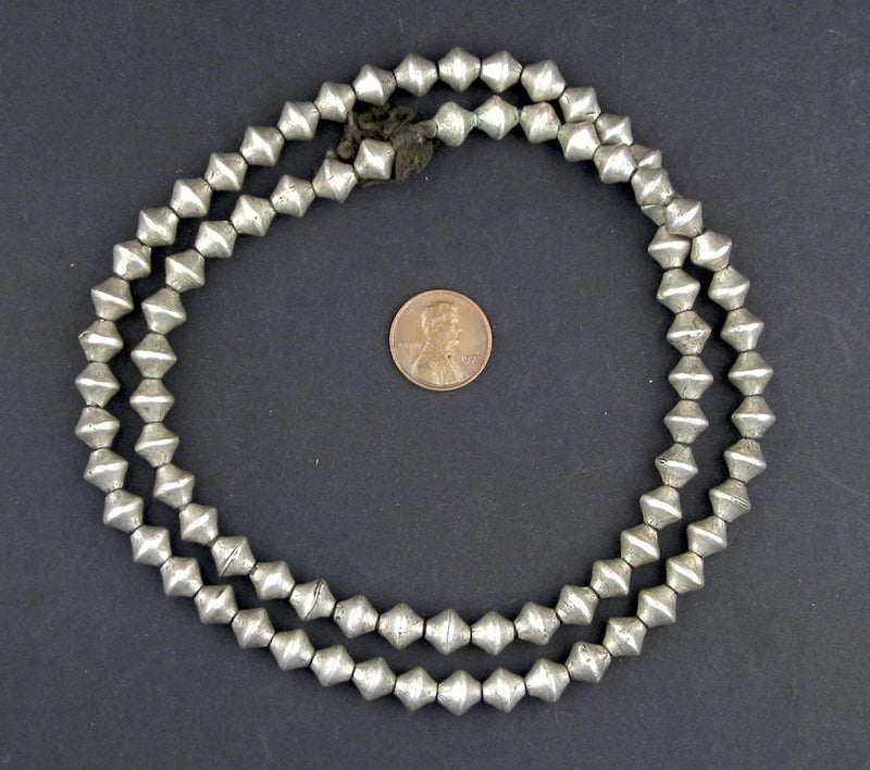 Ethiopian White Metal Bicone Beads (8x8mm) - The Bead Chest