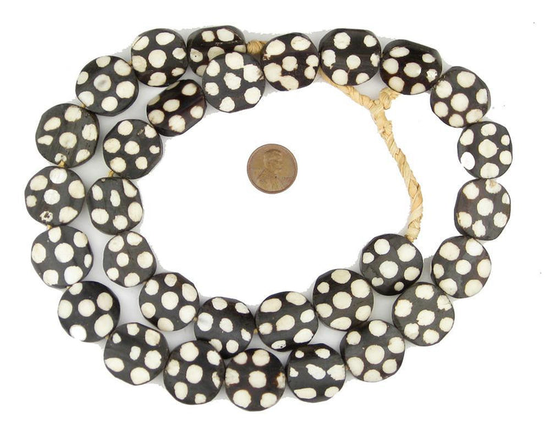 Polkadot Batik Bone Beads (Circular) - The Bead Chest