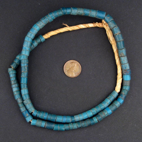 Image of Old Ghana Turquoise Teal Glass Beads - The Bead Chest