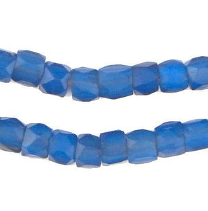 Old Russian Blue Faceted Glass Beads (7mm) - The Bead Chest